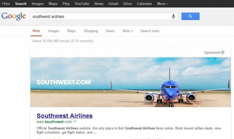 google full page sponsored image ad southwest airlines