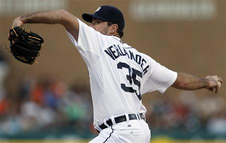 Detroit Tigers starting pitcher Verlander throws to the Baltimore Orioles during the fifth inning of their MLB American League baseball game in Detroit, Michigan