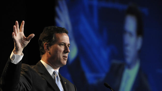 Republican Presidential candidate, former Sen. Rick Santorum, speaks during the Pennsylvania Leadership Conference in Camp Hill, Pa., Saturday March 24, 2012. There's little more than four weeks to go until the Pennsylvania presidential primary on April 24. The conference is the state's largest annual gathering of conservatives. (AP photo/Jason Minick)