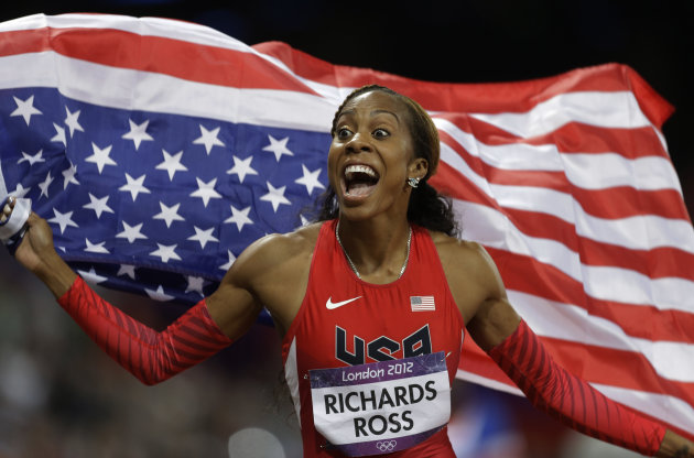 USA&#39;s Sanya Richards-Ross reacts after winning the women&#39;s 400-meter during the athletics in the Olympic Stadium at the 2012 Summer Olympics, London, Sunday, Aug. 5, 2012. (AP Photo/Markus Schreiber)