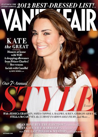 This magazine cover image shows Kate Middleton, the Duchess of Cambridge, on the cover of the September 2012 issue of Vanity Fair. British royalty has made its mark atop Vanity Fair&#39;s International Best Dressed List, with Kate Middleton and her brother-in-law, Prince Harry, both making this year&#39;s slate. The September 2012 issue of Vanity Fair hits newsstands in New York and Los Angeles on August 2 and nationally and on the iPad on August 7. (AP Photo/Vanity Fair)