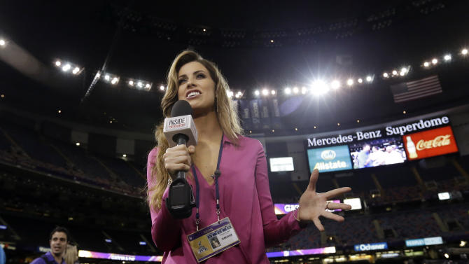 Inside Edition reporter Katherine Webb is seen during media day for the NFL Super Bowl XLVII football game Tuesday, Jan. 29, 2013, in New Orleans. (AP Photo/Pat Semansky)