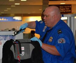 A TSA officer screens baggage.