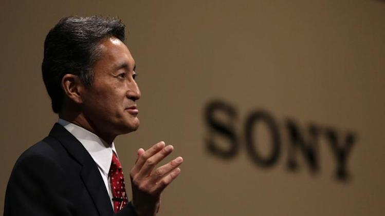 Sony Corp's President and CEO Hirai speaks during the Sony Corporate Strategy Meeting at the company's headquarters in Tokyo