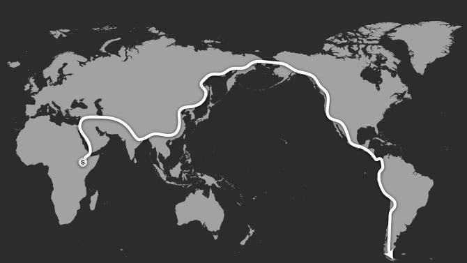 This graphic released by the National Geographic Society on Thursday, Jan. 10, 2013, shows the route Paul Salopek will take on his planned 21,000-mile (34,000-kilometer) walk. Two-time Pulitzer Prize-winning reporter Paul Salopek has taken the first steps of an unimaginably long walk - a 21,000-mile (34,000-kilometer) journey from Ethiopia to Argentina expected to last seven years. (AP Photo/National Geographic) NO sales, One Time Use only, No archiving