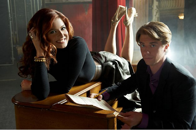 "Debra Messing stars as Julia Houston and Christian Borle stars as Tom Levitt in ""Smash."""