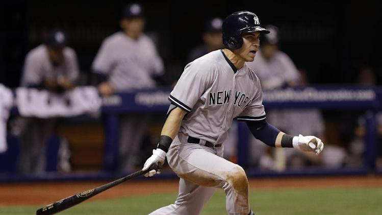 New York Yankees' Jacoby Ellsbury grounds out during ninth inning of a baseball game against the Tampa Bay Rays Thursday, April 17, 2014, in St. Petersburg, Fla. The Yankees won the game 10-2. (AP Photo/Chris O'Meara)