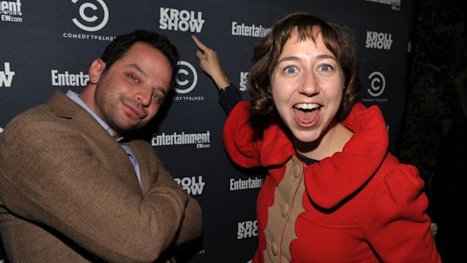 "IMAGE DISTRIBUTED FOR ENTERTAINMENT WEEKLY - Actor/comedian Nick Kroll, left, and Kristen Schaal attend an exclusive screening of Comedy Central's ""Kroll Show"" hosted by Entertainment Weekly on Tuesday, January 15, 2013 at LA's Silent Movie Theatre in Los Angeles. (Photo by John Shearer/Invision for Entertainment Weekly/AP Images)"