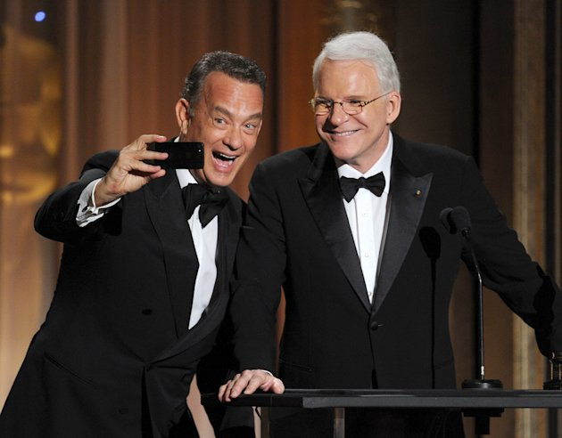 Tom Hanks and honoree Steve Martin on Saturday night