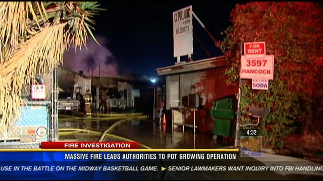 Massive fire leads authorities to pot growing operation