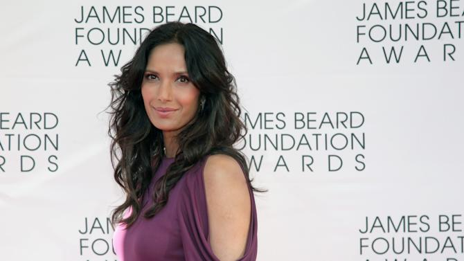 Television personality Padma Lakshmi arrives at the James Beard Foundation Awards Gala on Monday, May 6, 2013, in New York. (Photo by Andy Kropa/Invision/AP)