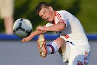 Russia&#39;s forward Andrei Arshavin, seen here in action on May 29, during a friendly match against Lithuania, in Nyon, in preparation for the Euro 2012 championship, which will take place in Poland and Ukraine from June 8 to July 1