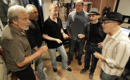 Musicians, from left, Don Ciccone, Lee Shapiro, Jimmy Ryan, Gerry Polci, Larry Gates and Russ Velazquez sing inside a studio, Sunday, May 13, 2012 in Fair Lawn, N.J. Former members of the Four Seasons, minus lead singer Frankie Valli, have teamed up with some A-list studio musicians and have been rehearsing in Gates&#39; basement in preparation for a nationwide tour. (AP Photo/Julio Cortez)