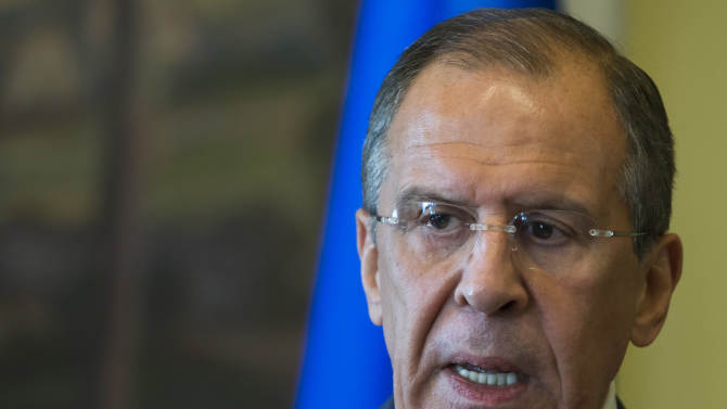 Russian Foreign Minister Sergey Lavrov speaks to the media after his meeting with Italian Foreign Minister Emma Bonino, unseen, in Moscow, Russia, Saturday, June 15, 2013. Russia's foreign minister says the evidence put forth by the United States of chemical weapons use in Syria apparently doesn't meet stringent criteria for reliability. (AP Photo/Alexander Zemlianichenko)