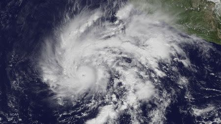 Hurricane Sandra is seen in a NOAA image taken from the GOES East satellite off the coast of Mexico