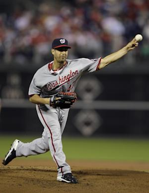 Washington Nationals' Gio Gonzalez pitches in the second inning of a baseball game against the Philadelphia Phillies, Thursday, Sept. 27, 2012, in Philadelphia. (AP Photo/Matt Slocum)