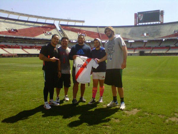 Los All Blacks en el Monumental (Fuente: @carpoficial)