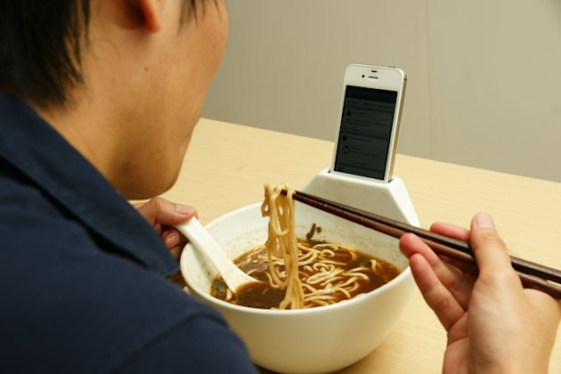 Musical mealtimes: The MisoSoupDesign is the latest in noodle bowl/iPhone technology (Caters)