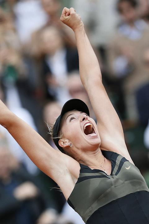 TOPSHOTS Russia's Maria Sharapova Reacts AFP/Getty Images