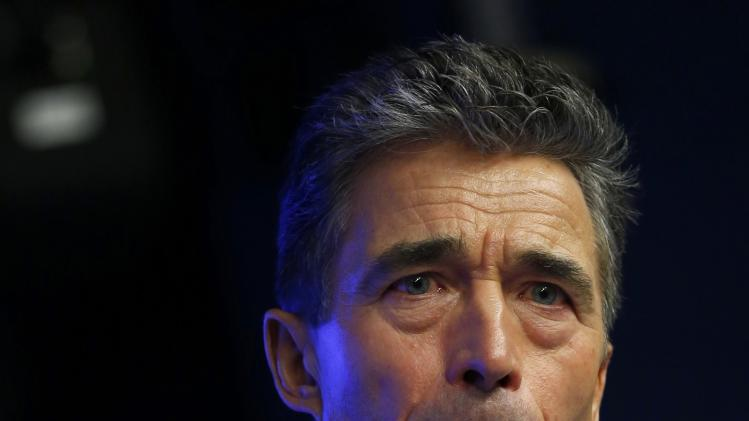 NATO Secretary General Fogh Rasmussen holds a news conference while taking part in a European Union leaders summit in Brussels