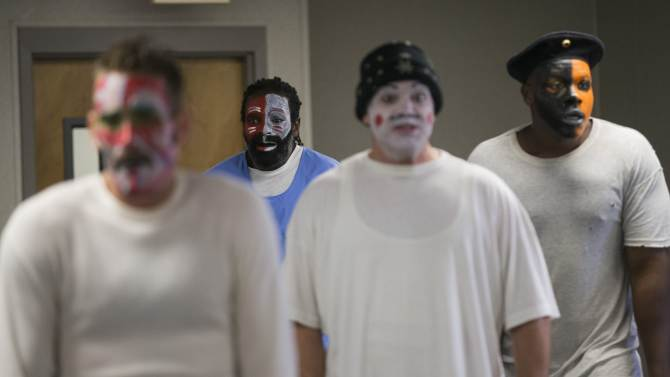 """Inmates participate in the workshop """"Commedia Dell'Arte"""", part of the The Actors' Gang Prison Project program at the California Rehabilitation Center in Norco"""