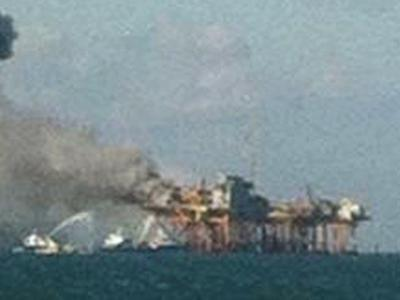 Workers hospitalized after oil rig fire
