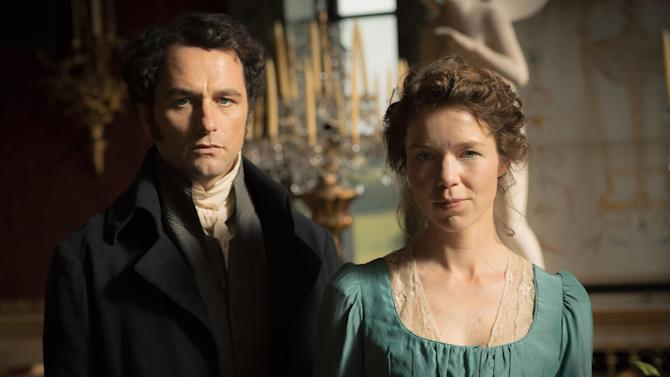 "This photo provided by PBS/Masterpiece shows Matthew Rhys, left, as Darcy and Anna Maxwell Martin as Elizabeth Darcy, in ""Death Comes to Pemberley."" The television show airing Oct. 26, 2014 and Nov. 2 on PBS, is adapted from P.D. James' 2011 mystery novel that revisits characters from Jane Austen's ""Pride and Prejudice."" (AP Photo/PBS/Masterpiece, Robert Viglasky/Origin Pictures)"