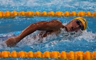 Kosuke Hagino of Japan competes in Dubai, on October 2, 2012. Hagino outshined two-time double Olympic champion Kosuke Kitajima on the first day of the Japanese national swimming championships