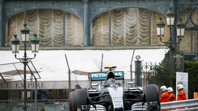 Mercedes Formula One driver Rosberg of Germany drives during the third practice session of the Monaco Grand Prix in Monaco