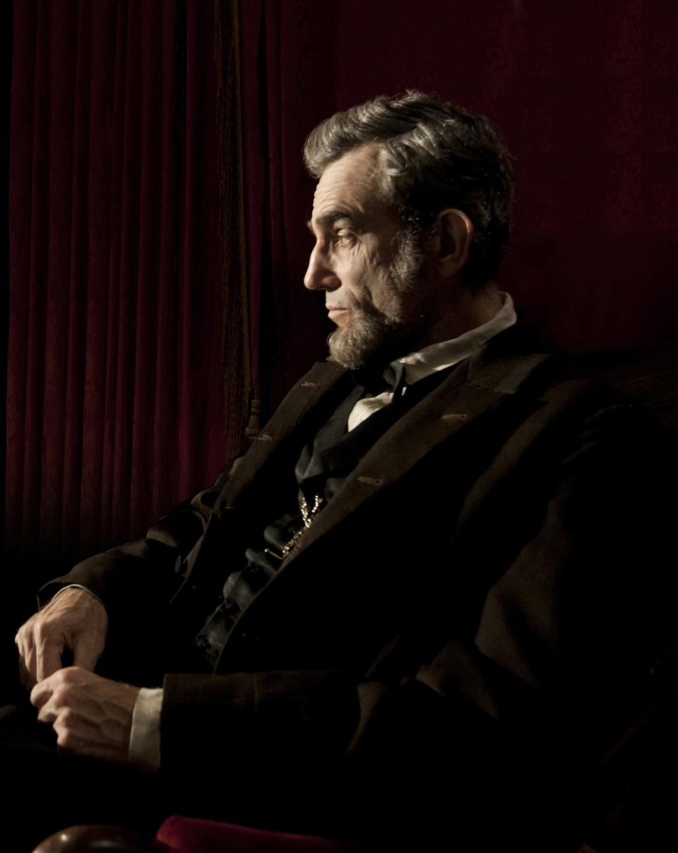 "This publicity film image released by Walt Disney Pictures shows Daniel Day-Lewis portraying Abraham Lincoln in the film ""Lincoln.""  The film, directed by Steven Spielberg, opens in limited release Nov. 9 and nationwide Nov. 16, just after the U.S. presidential election. (AP Photo/Disney-DreamWorks II, David James)"
