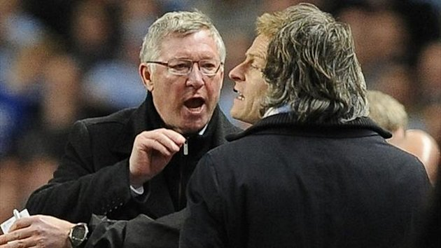 Sir Alex Ferguson and Roberto Mancini exchange pleasantries on the touchline (Reuters)