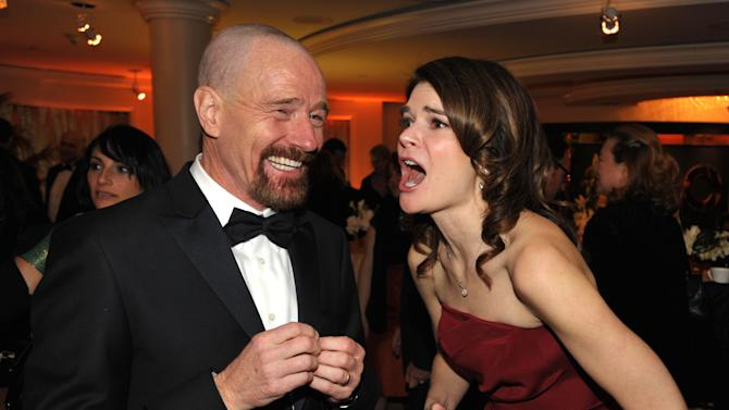IMAGE DISTRIBUTED FOR AMC - Bryan Cranston, left, and Betsy Brandt attend the AMC Golden Globes Party on Sunday, Jan. 13, 2013 in Beverly Hills, Calif. (Photo by John Shearer/Invision for AMC/AP Images)