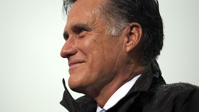 Republican presidential candidate, former Massachusetts Gov. Mitt Romney pauses during a campaign rally on Monday, Oct. 8, 2012, in Newport News, Va.  (AP Photo/ Evan Vucci)