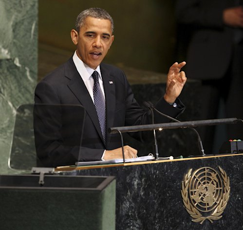 President Barack Obama addresses the 67th session of the General Assembly at United Nations headquarters, Tuesday, Sept. 25, 2012. (AP Photo/Seth Wenig)