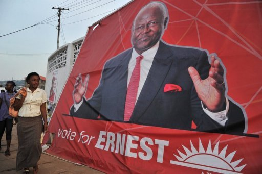 &lt;p&gt;A woman walks past a poster of Sierra Leone&#39;s President Ernest Bai Koroma on November 14 in Freetown, ahead of general elections in Sierra Leone. Koroma was re-elected Friday after sweeping presidential polls with 58.7 percent of the vote, with his rival Julius Maada Bio garnering 37.4 percent, the electoral body said.&lt;/p&gt;