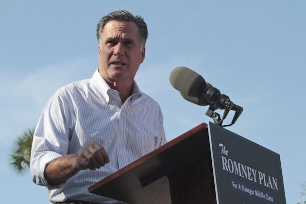 Republican presidential candidate, former Massachusetts Gov. Mitt Romney speaks at a campaign event at Flagler college, Monday, Aug. 13, 2012, in St. Augustine, Fla. (AP Photo/Mary Altaffer)