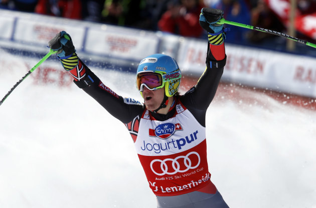 Ted Ligety of the United States reacts after the men's alpine skiing giant slalom at the World Cup finals in Lenzerheide, Switzerland, Saturday, March 16,  2013. (AP Photo/Alessandro Trovati)