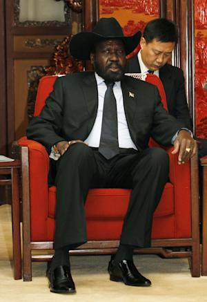 South Sudan President Salva Kiir Mayardit talks during a meeting with Chinese Vice Premier Li Keqiang, unseen, at Zhongnanhai in Beijing, Wednesday, April 25, 2012.    (AP Photo/Kazuhiro Ibuki, Pool)