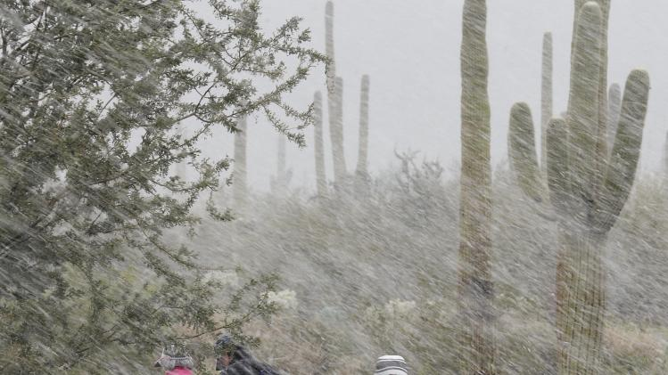 Spectators make their way off the course in driving rain and snow during the Match Play Championship golf tournament, Wednesday, Feb. 20, 2013, in Marana, Ariz. Play was suspended for the day. (AP Photo/Ted S. Warren)