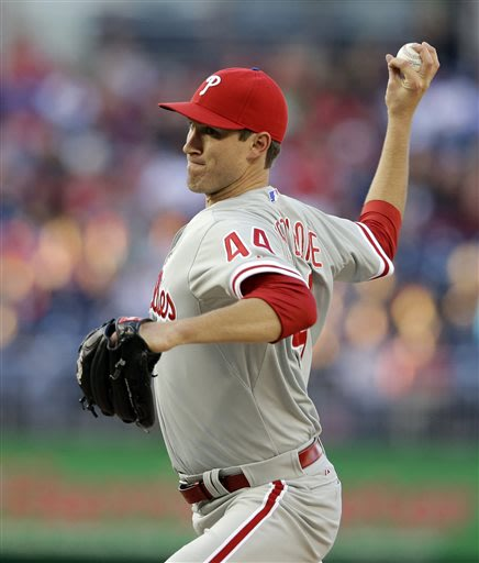 Philadelphia Phillies starting pitcher Jonathan Pettibone (44) throws during the first inning of a baseball game against the Washington Nationals at Nationals Park, Saturday, May 25, 2013, in Washingt