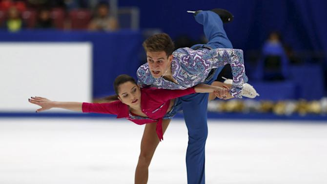 Vera Bazarova and Andrei Deputat of Russia perform during the free skating program at the ISU Grand Prix of Figure Skating in Nagano, Japan