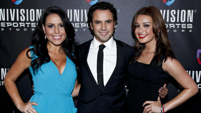 Lindsay Casinelli, correspondent, Univision Deportes Extra, Alejandro Berry, anchor, Univision Deportes Extra, and Antonietta Collins, anchor, Univision Deportes Extra, are seen at the Univision Deportes Network Launch Party on Thursday April 19, 2012 in New York.  (Brian Ach/AP Images for Univision)