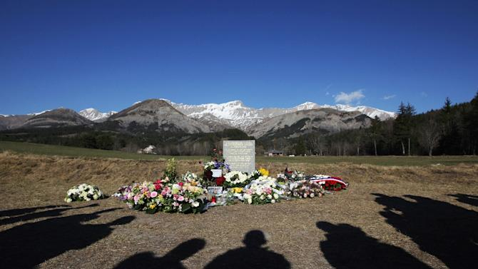 People commemorate the victims of the Germanwings Airbus A320 crash in the village of Le Vernet, southeastern France on April 6, 2015