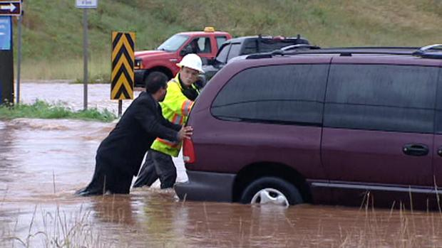 Nova Scotia was pummelled with rain Monday, with more than 75 millimetres falling in the central part of the province.