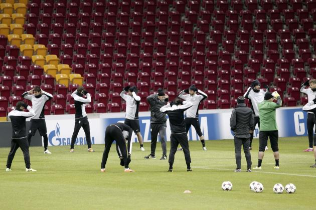 Juventus players warm up during a training session at Turk Telekom Arena in Istanbul