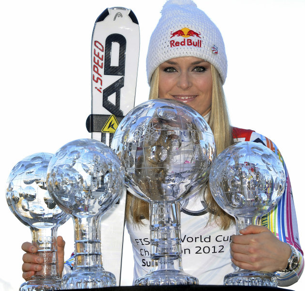 FILE -This March 18, 2012 file photo shows Lindsey Vonn, of the United States, posing with her alpine ski, women's World Cup trophies for the super-G, super-combined, downhill and overall titles, in S