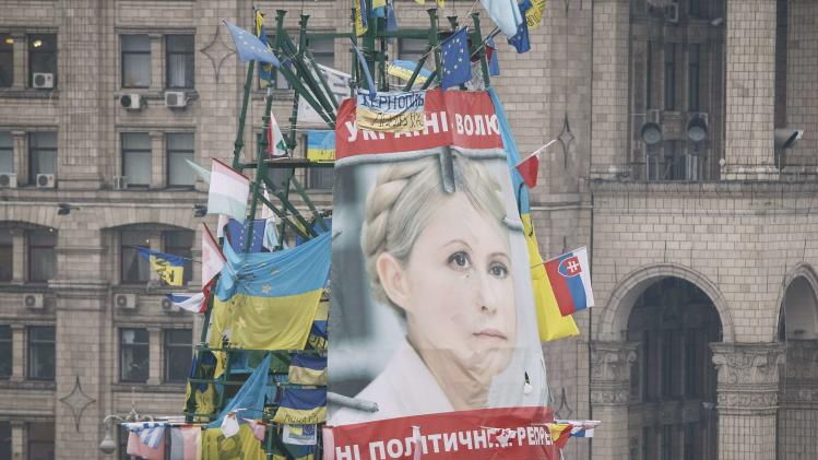 A poster of jailed Ukrainian opposition leader Yulia Tymoshenko is fixed on a metal base belonging to a destroyed Christmas tree, in the Independence Square in Kiev