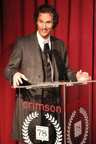 This Jan. 7, 2013 photo released by Starpix shows actor Matthew McConaughey speaking at the New York Film Critics Circle Awards at the Crimson Club in New York. Matthew McConaughey won the award for best supporting actor for his performances in &quot;Bernie,&quot; and &quot;Magic Mike.&quot; (AP Photo/Starpix, Kristina Bumphrey)
