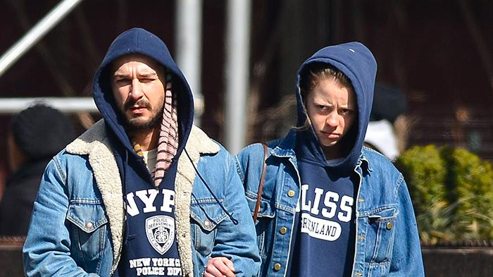 Shia Labeouf and his girlfriend Mia Goth walk through Midtown Manhattan