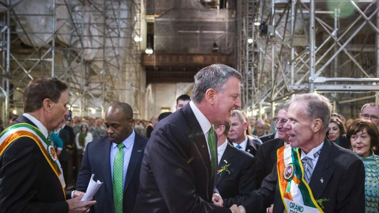 Bill de Blasio greets John Ahern before a service at Saint Patrick's Cathedral in New York